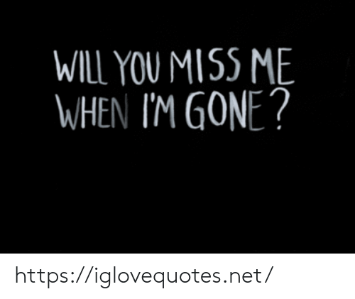 Net, Gone, and Will: WILL YOU MISS ME  WHEN I'M GONE? https://iglovequotes.net/