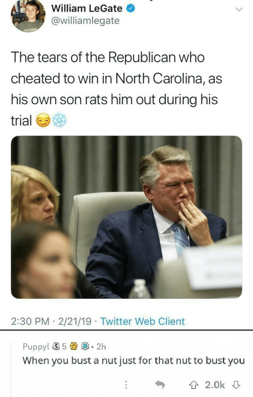 North Carolina: William LeGate  @williamlegate  the Republican  T he tears of who  cheated to win in North Carolina, as  his own son rats him out during his  trial  2:30 PM 2/21/19 Twitter Web Client  Puppy! ⑤ 5圚@-2h  When you bust a nut just for that nut to bust you  T 2.0k