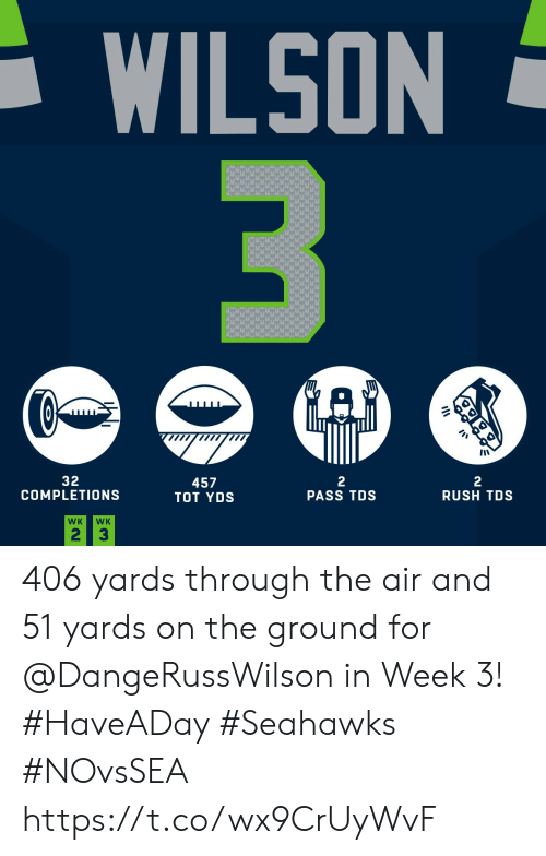 Memes, Rush, and Seahawks: WILSON  3  GAD  32  COMPLETIONS  2  PASS TDS  2  RUSH TDS  457  TOT YDS  WK  WK  2 3 406 yards through the air and 51 yards on the ground for @DangeRussWilson in Week 3! #HaveADay #Seahawks #NOvsSEA https://t.co/wx9CrUyWvF