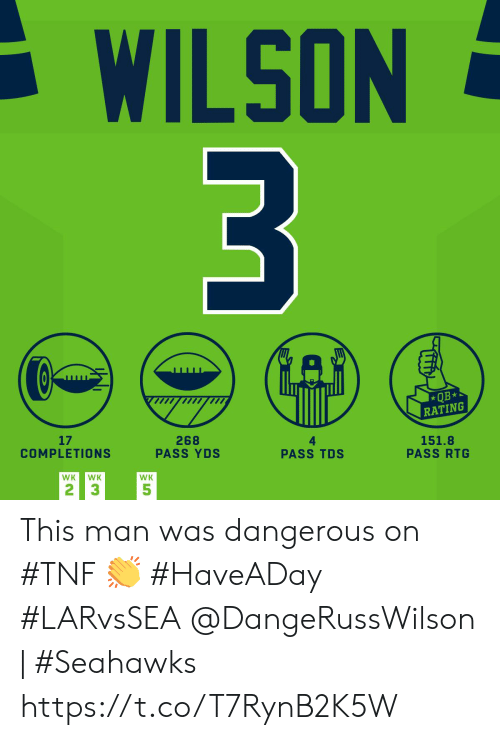 Memes, Seahawks, and 🤖: WILSON  3  QB*  RATING  17  COMPLETIONS  268  PASS YDS  151.8  PASS RTG  PASS TDS  WK  WK  WK  2 3  5 This man was dangerous on #TNF 👏 #HaveADay #LARvsSEA  @DangeRussWilson | #Seahawks https://t.co/T7RynB2K5W