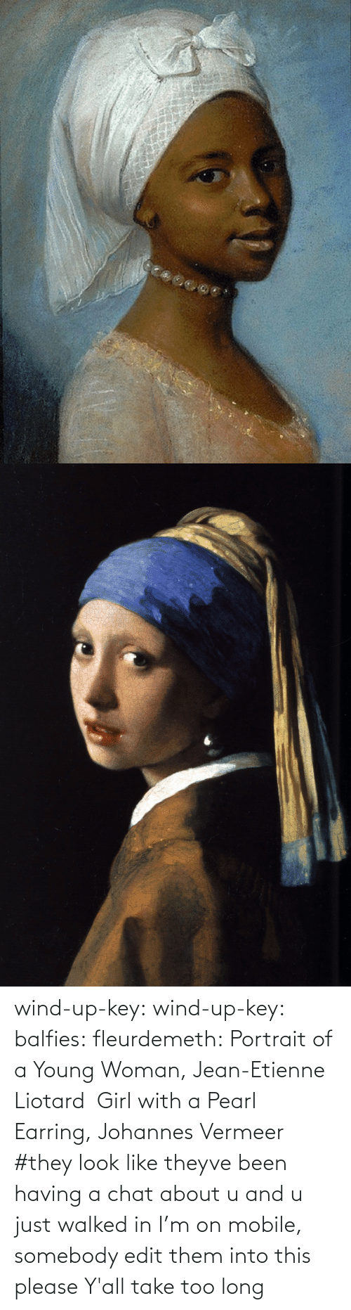 jean: wind-up-key: wind-up-key:   balfies:  fleurdemeth:  Portrait of a Young Woman, Jean-Etienne Liotard  Girl with a Pearl Earring, Johannes Vermeer   #they look like theyve been having a chat about u and u just walked in   I'm on mobile, somebody edit them into this please   Y'all take too long