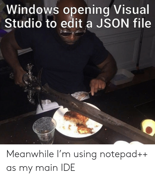 visual studio: Windows opening Visual  Studio to edit a JSON file Meanwhile I'm using notepad++ as my main IDE