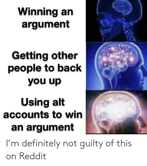 Alt Accounts: Winning an  argument  Getting other  people to back  you up  Using alt  accounts to win  an argument I'm definitely not guilty of this on Reddit