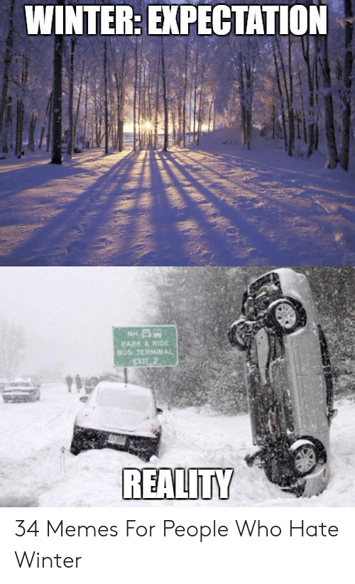 Funny Snow Memes: WINTER: EXPECTATION  PARK & RIDE  BUS TERMINAL  REALITY 34 Memes For People Who Hate Winter