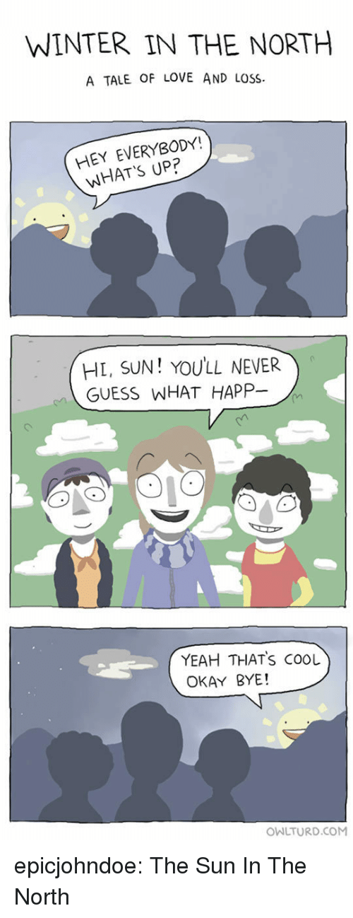 in-the-north: WINTER IN THE NORTH  A TALE OF LOVE AND LOSS  HEY EVERYBODY!  WHAT'S UP?  HL, SUN! YOULL NEVER  GUESS WHAT HAPP-  YEAH THATS COOL  OKAY BYE!  OWLTURD.COM epicjohndoe:  The Sun In The North