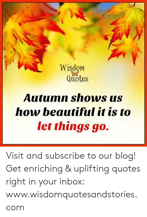 Uplifting Quotes: Wisdom  Quotes  Autumn shows us  how beautiful it is to  let things go. Visit and subscribe to our blog! Get enriching & uplifting quotes right in your inbox: www.wisdomquotesandstories.com