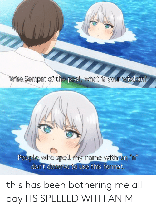 "Anime, Pool, and What Is: Wise Sempai of the pool, what is your wisdam  People who spell my name with an ""n""  don't deserve to use this format.  0  00 this has been bothering me all day ITS SPELLED WITH AN M"