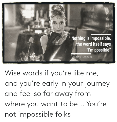 Wise Words: Wise words if you're like me, and you're early in your journey and feel so far away from where you want to be... You're not impossible folks