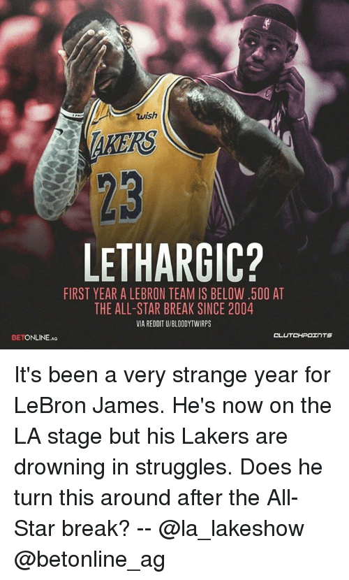 All Star, Los Angeles Lakers, and LeBron James: wish  AKERS  23  LETHARGIC?  FIRST YEAR A LEBRON TEAM IS BELOW.500 AT  THE ALL-STAR BREAK SINCE 2004  VIA REDDIT U/BLOODYTWIRPS  OL  BETONLINE Ao It's been a very strange year for LeBron James. He's now on the LA stage but his Lakers are drowning in struggles. Does he turn this around after the All-Star break? -- @la_lakeshow @betonline_ag