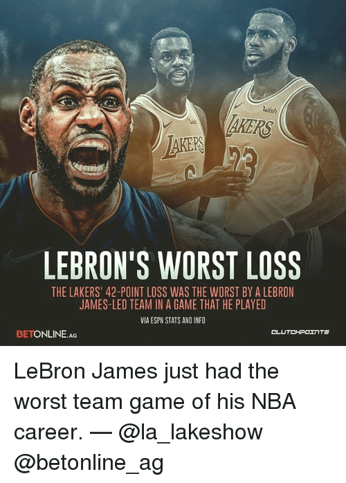 "Espn, Los Angeles Lakers, and LeBron James: wish  AKERS  AKER  LEBRON'S WORST LOSS  THE LAKERS"" 42-POINT LOSS WAS THE WORST BY A LEBRON  JAMES-LED TEAM IN A GAME THAT HE PLAYED  VIA ESPN STATS AND INFO  rt  CLUTCHPOェ TS  BETONLINE.AG LeBron James just had the worst team game of his NBA career. — @la_lakeshow @betonline_ag"