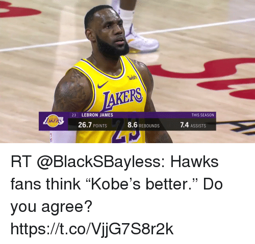 "astrologymemes.com: wish  PS  23 LEBRON JAMES  THIS SEASON  KERS  26.7 POINTS  8.6 REBOUNDS  7.4 ASSISTS RT @BlackSBayless: Hawks fans think ""Kobe's better.""   Do you agree? https://t.co/VjjG7S8r2k"