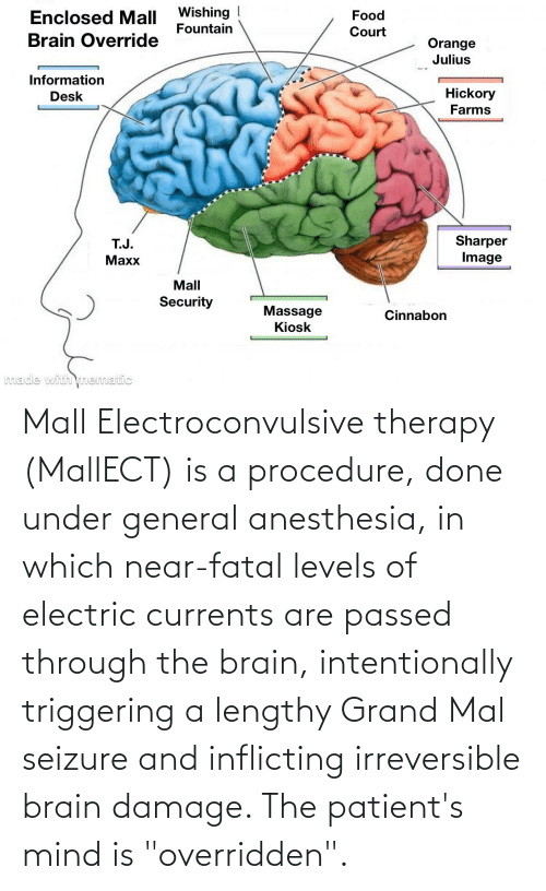 "General Anesthesia: Wishing  Fountain  Enclosed Mall  Food  Court  Brain Override  Orange  Julius  Information  Desk  Hickory  Farms  Sharper  Image  T.J.  Махх  Mall  Security  Massage  Kiosk  Cinnabon  Imade with nematic Mall Electroconvulsive therapy (MallECT) is a procedure, done under general anesthesia, in which near-fatal levels of electric currents are passed through the brain, intentionally triggering a lengthy Grand Mal seizure and inflicting irreversible brain damage. The patient's mind is ""overridden""."