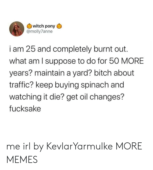 What Am I: witch pony  @molly7anne  i am 25 and completely burnt out  what am I suppose to do for 50 MORE  years? maintain a yard? bitch about  traffic? keep buying spinach and  watching it die? get oil changes?  fucksake me irl by KevlarYarmulke MORE MEMES