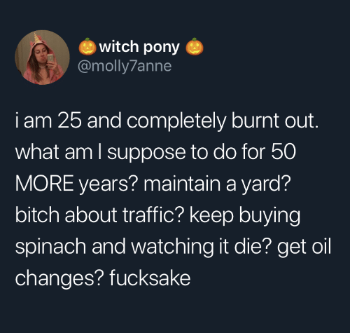 What Am I: witch pony  @molly7anne  iam 25 and completely burnt out.  what am I suppose to do for 50  MORE years? maintain a yard?  bitch about traffic? keep buying  spinach and watching it die? get oil  changes? fucksake