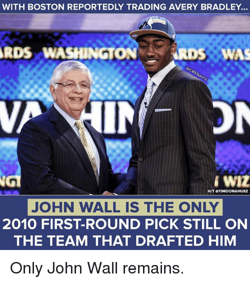 first-round-pick: WITH BOSTON REPORTEDLY TRADING AVERY BRADLEY...  RDS  WASHINGTON RDS WAS  HIT OTIMDONAHUEZ  JOHN WALL IS THE ONLY  2010 FIRST-ROUND PICK STILL ON  THE TEAM THAT DRAFTED HIM Only John Wall remains.
