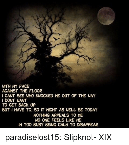 Tumblr, Blog, and Slipknot: WITH MY FACE  AGAINST THE FLOOR  I CANT SEE WHO KNOCKED ME OUT OF THE WAY  I DONT WANT  TO GET BACK UP  BUT I HAVE TO, SO IT MIGHT AS WELL BE TODAY  NOTHING APPEALS TO ME  NO ONE FEELS凵KE ME  IM TOO BUSY BEING CALM TO DISAPPEAR paradiselost15:  Slipknot- XIX