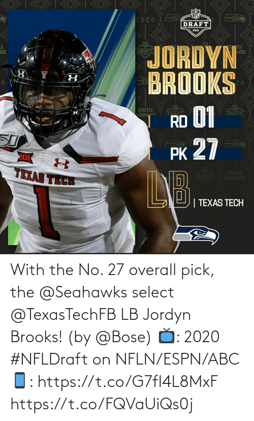 Jordyn: With the No. 27 overall pick, the @Seahawks select @TexasTechFB LB Jordyn Brooks! (by @Bose)  📺: 2020 #NFLDraft on NFLN/ESPN/ABC 📱: https://t.co/G7fI4L8MxF https://t.co/FQVaUiQs0j