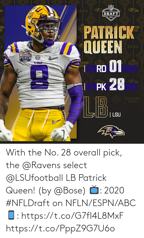 patrick: With the No. 28 overall pick, the @Ravens select @LSUfootball LB Patrick Queen! (by @Bose)  📺: 2020 #NFLDraft on NFLN/ESPN/ABC 📱: https://t.co/G7fI4L8MxF https://t.co/PppZ9G7U6o