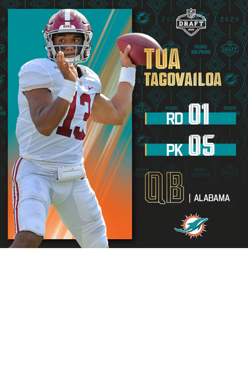 Select: With the No. 5 overall pick in the 2020 #NFLDraft, the @MiamiDolphins select @AlabamaFTBL QB Tua Tagovailoa.   (by @Bose) https://t.co/oYUudU9N6u