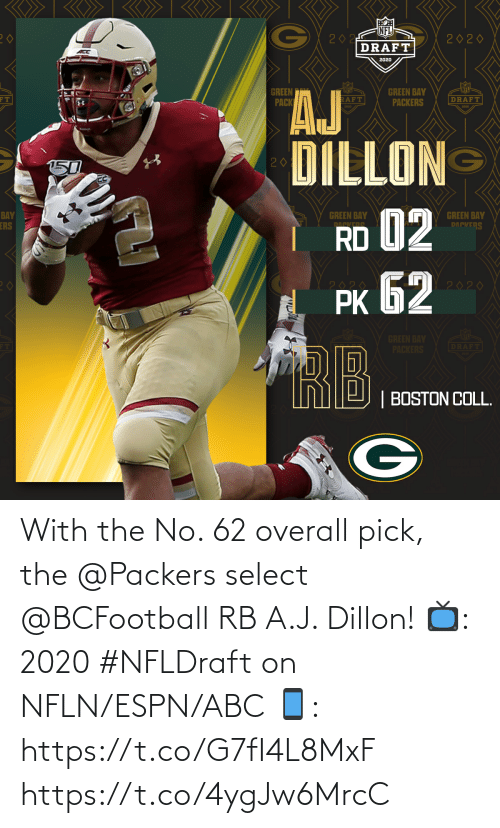 Pick: With the No. 62 overall pick, the @Packers select @BCFootball RB A.J. Dillon!  📺: 2020 #NFLDraft on NFLN/ESPN/ABC 📱: https://t.co/G7fI4L8MxF https://t.co/4ygJw6MrcC