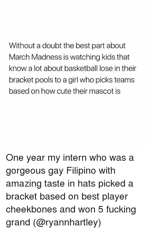 Basketball, Cute, and Fucking: Without a doubt the best part about  March Madness is watching kids that  know a lot about basketball lose in their  bracket pools to a girl who picks teams  based on how cute their mascot is One year my intern who was a gorgeous gay Filipino with amazing taste in hats picked a bracket based on best player cheekbones and won 5 fucking grand (@ryannhartley)