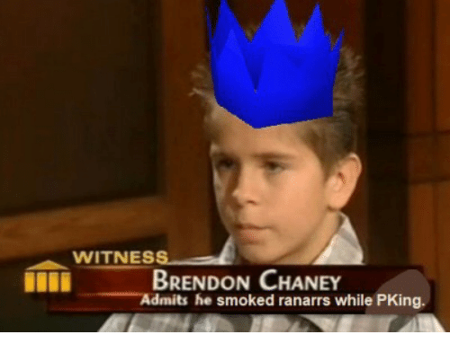 Brendon Chaney, Pking, and While: WITNES  I BRENDON CHANEY  Admits he smoked ranarrs while PKing