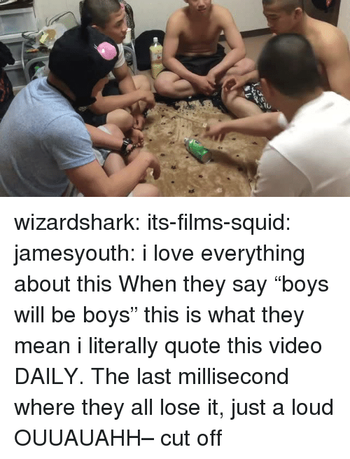 "Love, Tumblr, and Blog: wizardshark: its-films-squid:  jamesyouth:  i love everything about this   When they say ""boys will be boys"" this is what they mean  i literally quote this video DAILY. The last millisecond where they all lose it, just a loud OUUAUAHH– cut off"