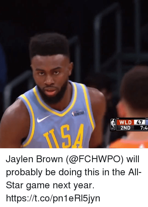 All Star Game: WLD 47  2ND 7:4 Jaylen Brown (@FCHWPO) will probably be doing this in the All-Star game next year.   https://t.co/pn1eRl5jyn