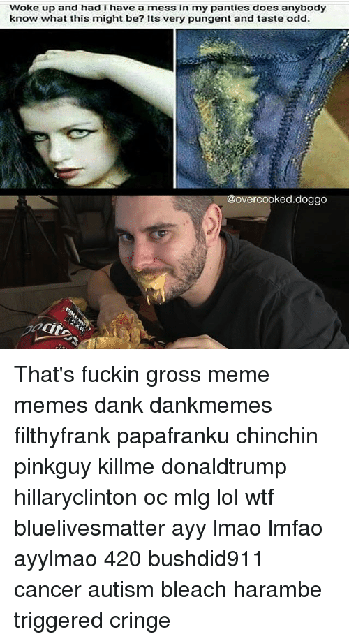 Gross Memes: woke up and had i have a mess in my panties does anybody  know what this might be? Its very pungent and taste odd.  @overcooked  doggo That's fuckin gross meme memes dank dankmemes filthyfrank papafranku chinchin pinkguy killme donaldtrump hillaryclinton oc mlg lol wtf bluelivesmatter ayy lmao lmfao ayylmao 420 bushdid911 cancer autism bleach harambe triggered cringe