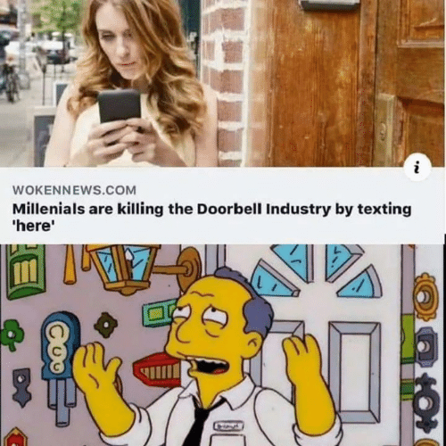 Texting, Com, and Millenials: WOKENNEWS.COM  Millenials are killing the Doorbell Industry by texting  'here'