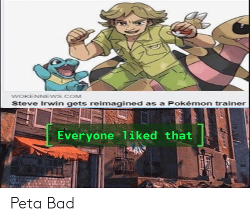 Bad, Pokemon, and Steve Irwin: WOKENNEWS.COM  Steve Irwin gets reimagined as a Pokémon trainer  Everyone 1iked that Peta Bad
