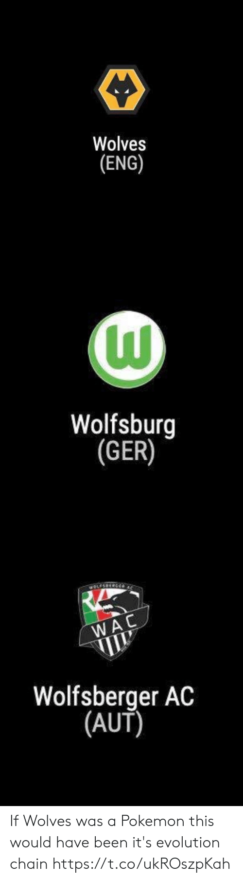 chain: Wolves  (ENG)   Wolfsburg  (GER)   wOLESS  WAC  Wolfsberger AC  |(AUT) If Wolves was a Pokemon this would have been it's evolution chain https://t.co/ukROszpKah