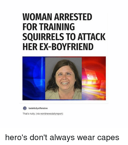 tastefully offensive: WOMAN ARRESTED  FOR TRAINING  SQUIRRELS TO ATTACK  HER EX-BOYFRIEND  O tastefully offensive  That's nutty. (via worldnewsdailyreport) hero's don't always wear capes