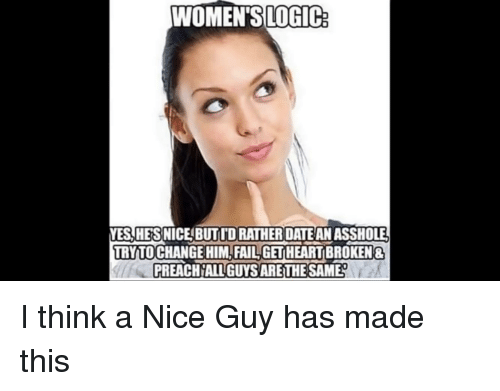 WOMEN'SLOGIC YES HESNICE BUTID RATHER DATE ANASSHOLE TRY TO