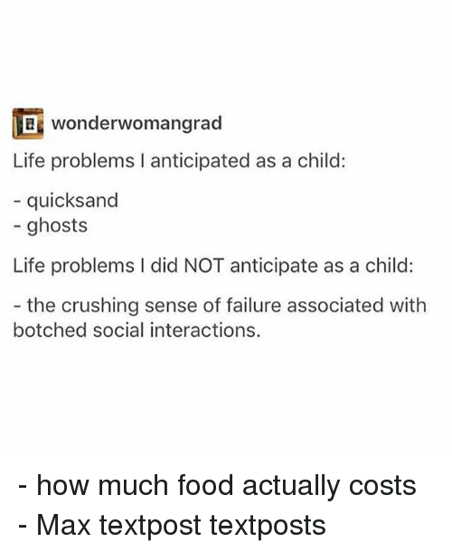 quicksand: wonderwomangrad  Life problems I anticipated as a child:  quicksand  ghosts  Life problems l did NOT anticipate as a child:  the crushing sense of failure associated with  botched social interactions. - how much food actually costs - Max textpost textposts