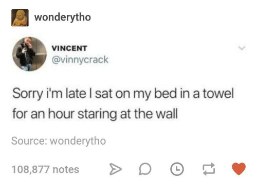 Staring At The Wall: wonderytho  VINCENT  @vinnycrack  Sorry i'm late l sat on my bed in a towel  for an hour staring at the wall  Source: wonderytho  108,877 notes