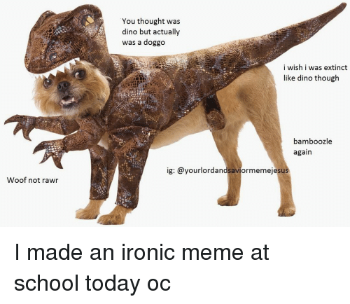 Ironic Memes: Woof not rawr  You thought was  dino but actually  was a doggo  i wish i was extinct  like dino though  bamboozle  again  ig: @yourlordandsaviormemeje sus I made an ironic meme at school today oc