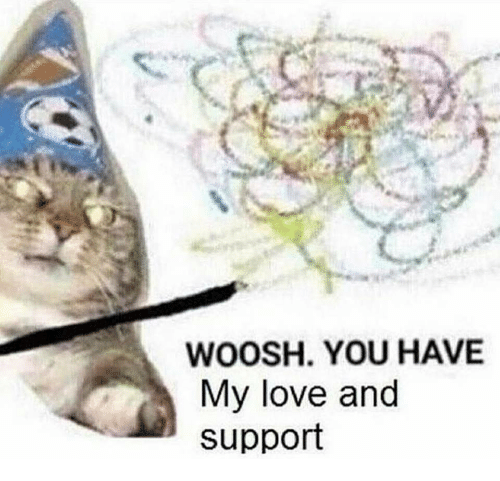 woosh: WOOSH. YOU HAVE  My love and  support