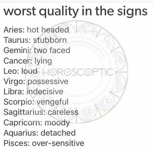Aquarius, Aries, and Cancer: wor  st quality in the sig  ns  Aries: hot headed  Taurus: stubborrn  Gemini. two faced  Cancer: lying  Leo: loud HOROSCOPTIC  Virgo: possessive  Libra: indecisive  Scorpio: vengeful  Sagittarius: careless  Capricorn: moody  Aquarius: detached  Pisces: over-sensitive
