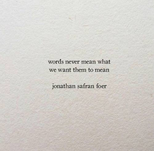 Mean, Jonathan Safran Foer, and Never: words never mean what  we want them to mean  jonathan safran foer