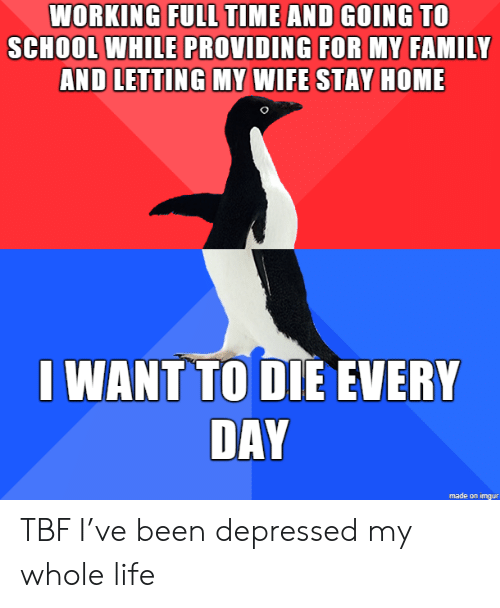 my-whole-life: WORKING FULL TIME AND GOING TO  SCHOOL WHILE PROVIDING FOR MY FAMILY  AND LETTING MY WIFE STAY HOME  I WANT TO DIE EVERY  DAY  made on imgur TBF I've been depressed my whole life