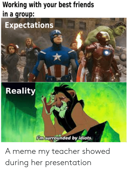 Expectations: Working with your best friends  in a group:  Expectations  Reality  m surrounded by idiots. A meme my teacher showed during her presentation