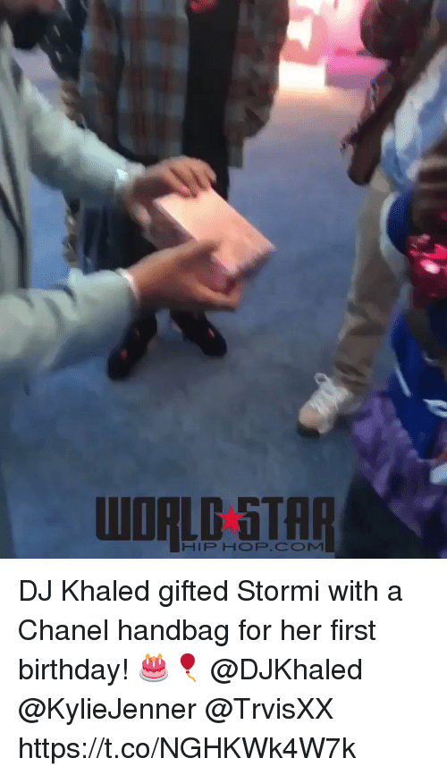 Chanel: WORLD 5TAR  HIP HOP.COM DJ Khaled gifted Stormi with a Chanel handbag for her first birthday! 🎂🎈 @DJKhaled @KylieJenner @TrvisXX https://t.co/NGHKWk4W7k