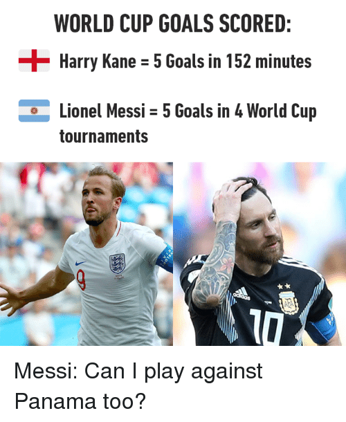 Panama: WORLD CUP GOALS SCORED:  Harry Kane - 5 Goals in 152 minutes  Lionel Messi 5 Goals in 4 World Cup  tournaments Messi: Can I play against Panama too?