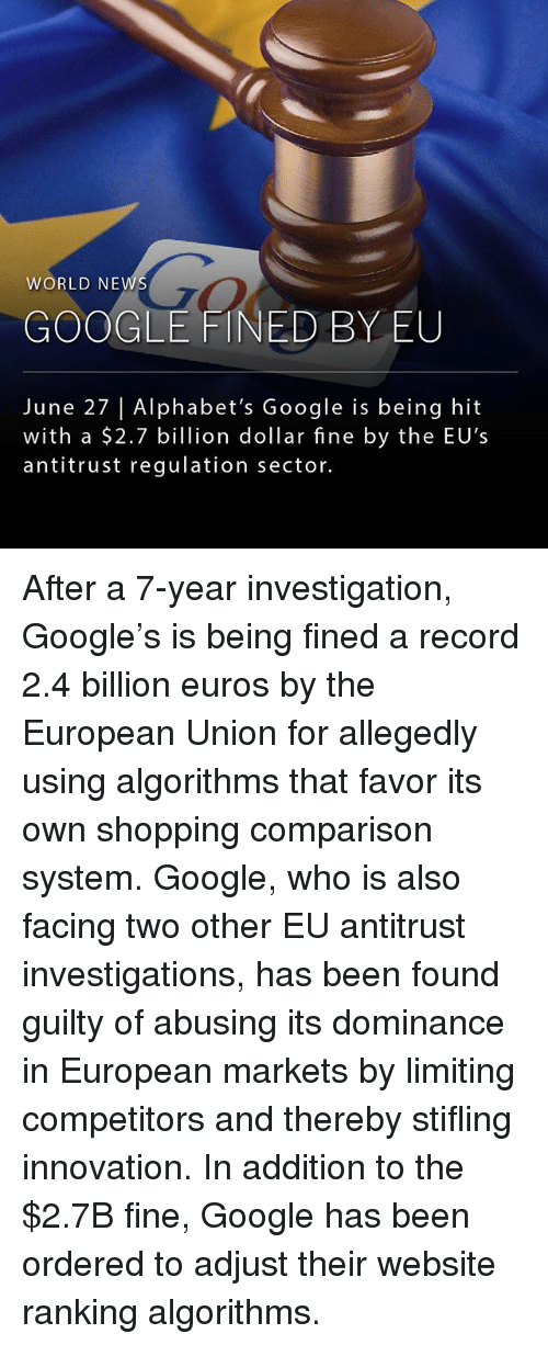 alphabets: WORLD NEW  GO  GOOGLE FINED BY EU  June 27  Alphabet's Google is being hit  with a $2.7 billion dollar fine by the EU's  antitrust regulation sector. After a 7-year investigation, Google's is being fined a record 2.4 billion euros by the European Union for allegedly using algorithms that favor its own shopping comparison system. Google, who is also facing two other EU antitrust investigations, has been found guilty of abusing its dominance in European markets by limiting competitors and thereby stifling innovation. In addition to the $2.7B fine, Google has been ordered to adjust their website ranking algorithms.