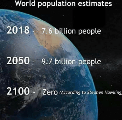 Memes, Stephen, and Stephen Hawking: World population estimates  2018 7.6 billion people  2050 9.7 billion people  2100-Z  ero (According to Stephen Hawking,