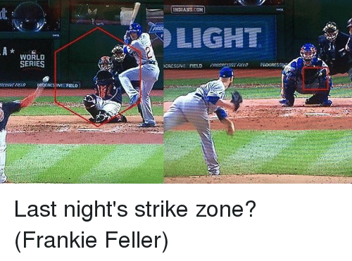 Mlb, World, and World Series: WORLD  SERIES  FIELD  INDIANS COH  LIGHT  PROGICS  XCRESSIVE FIELD Last night's strike zone? (Frankie Feller)