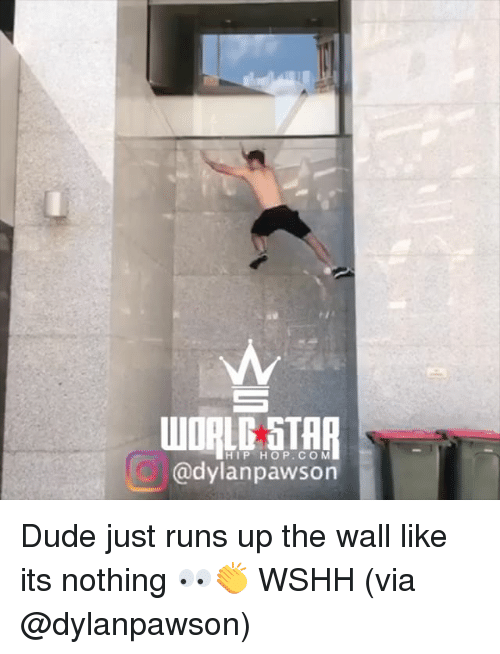 Dude, Memes, and Wshh: WORLD STAR  HIP HOP.CO M  @dylanpawson Dude just runs up the wall like its nothing 👀👏 WSHH (via @dylanpawson)