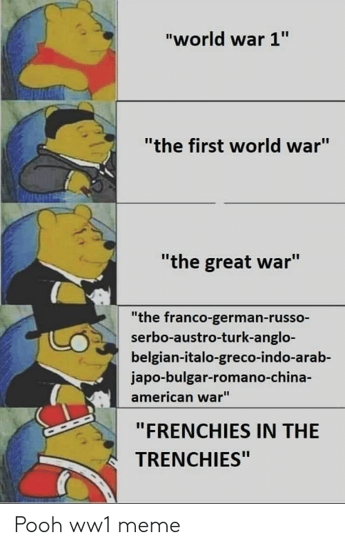 "world war 1: ""world war 1""  ""the first world war""  ""the great war""  ""the franco-german-russo-  serbo-austro-turk-anglo-  belgian-italo-greco-indo-arab-  japo-bulgar-romano-ch  american war""  ""FRENCHIES IN THE  TRENCHIES"" Pooh ww1 meme"
