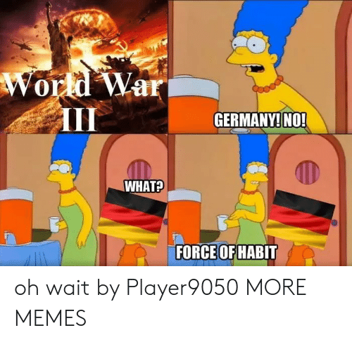 Oh Wait: World War  GERMANY! NO!  WHAT?  FORCE OF HABIT oh wait by Player9050 MORE MEMES